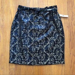 Worthington NWT Jacquard Black Gold Pencil Skirt